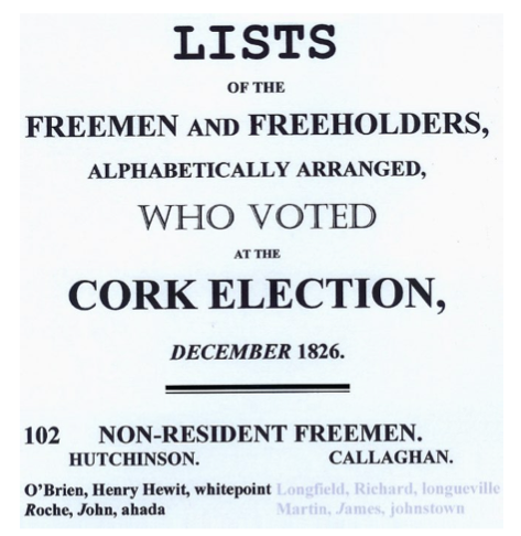 1826 Cork By-election voters list