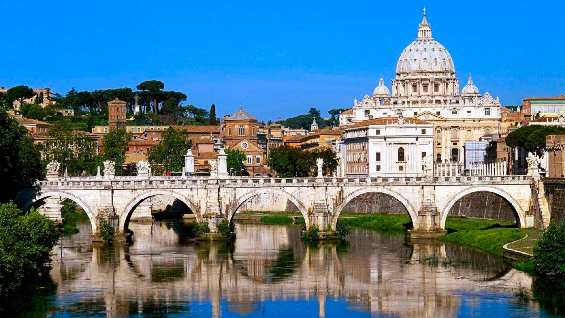 Vatican City Bridge and St Peters